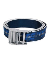 Off White Industrial Web Logo Belt Silvertone Hardware Blue