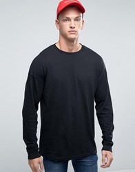 Asos Oversized Long Sleeve T Shirt In Black Black