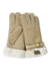 Australia Luxe Collective Genuine Shearling Cuff Gloves Beige