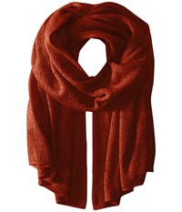 Steve Madden Solid Knit Blanket Wrap Rust Scarves Red
