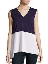 Chaus New York Colorblock Sleeveless Top Evening Navy