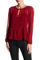 Candc California Margot Loose Peplum Blouse Red