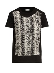 Saint Laurent Reptile Print Cotton T Shirt White Multi