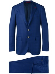 Isaia Checked Dinner Suit Blue