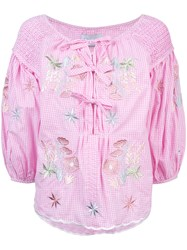 Innika Choo Gingham Embroidered Floral Blouse Pink And Purple