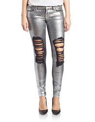 Guess Distressed Metallic Ultra Skinny Jeans Silver