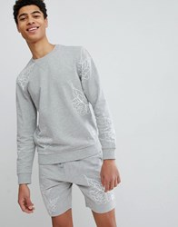 Only And Sons Sweatshirt With All Over Print Medium Grey Melange