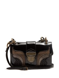 Bottega Veneta Darling Contrast Panel Patent Leather Shoulder Bag Black