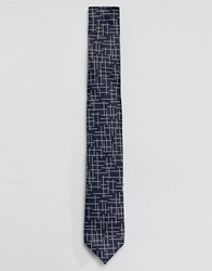 Selected Homme Navy Tie With Grid Details Dark Navy