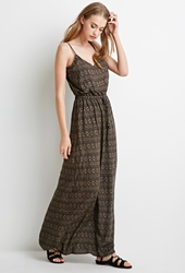 Forever 21 Tribal Print Maxi Dress Black Taupe