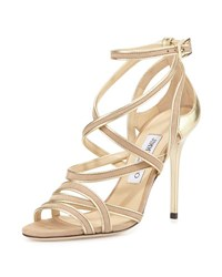 Jimmy Choo Vargo Metallic Trimmed Suede Strappy Sandal Nude Champagne