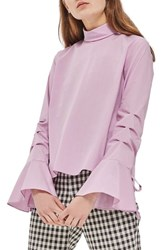 Topshop Women's Tie Ruched Sleeve Top Lilac
