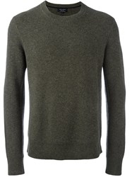 Rag And Bone Ribbed Crew Neck Jumper Green