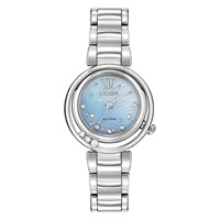 Citizen Em0320 59D Women's Sunrise Diamond And Mother Of Pearl Eco Drive Stainless Steel Bracelet Strap Watch Silver Blue