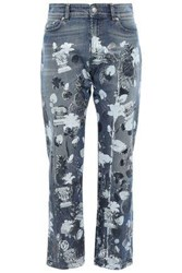 Versus By Versace Woman Cropped Metallic Printed High Rise Straight Leg Jeans Mid Denim