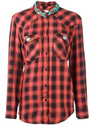 Forte Couture Beaded Neck Checked Shirt Red