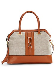 London Fog Tweed And Faux Leather Satchel