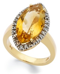 Macy's 14K Gold Ring Citrine 5 1 2 Ct. T.W. And Diamond 1 4 Ct. T.W. Marquise Ring Orange