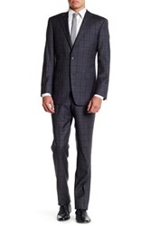 Ike Behar Charcoal Plaid Two Button Notch Lapel Wool Suit Gray
