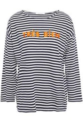 Chinti And Parker Woman Embroidered Striped Cotton Jersey Top Midnight Blue