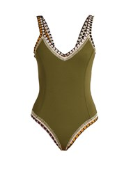 Kiini Wren Scoop Back Crochet Trimmed Swimsuit Khaki