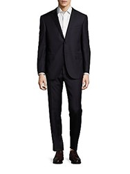 Corneliani Regular Fit Virgin Wool And Cashmere Blend Pinstriped Suit Dark Blue