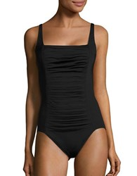Calvin Klein One Piece Solid Pleated Maillot
