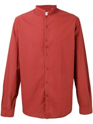 Costumein Mandarin Collar Shirt Men Cotton 46 Red