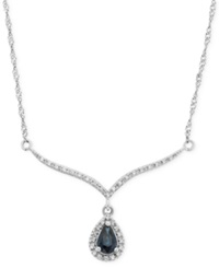 Macy's Sapphire 3 8 Ct. T.W. And Diamond 1 8 Ct. T.W. Frontal Necklace In 14K White Gold