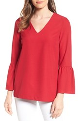 Halogenr Women's Halogen Bell Sleeve Tunic Red
