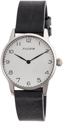 Pilgrim Silver Plated With White And Black Watch White