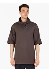 Rick Owens Grey Oversized Cowl Neck T Shirt