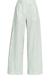 Maiyet Pleated Cotton Wide Leg Pants Green