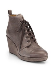 Coclico Henri Suede Lace Up Wedge Ankle Boots Taupe