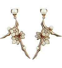 Shaun Leane Cherry Blossom Rose Gold Vermeil Ivory Enamel Pearl And Diamond Branch Earrings Large