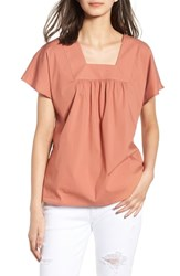 Hinge Square Neck Poplin Top Coral Cedar