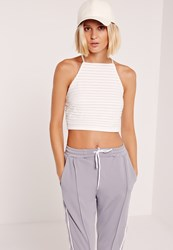 Missguided Sheer Stripe High Neck Crop Top White White