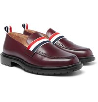 Thom Browne Grosgrain Trimmed Leather Penny Loafers Burgundy