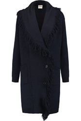 Haute Hippie Fringed Merino Wool Coat Midnight Blue