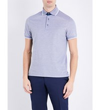 Canali Cotton Jersey Polo Shirt Navy