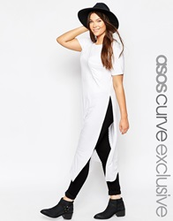 Asos Curve Maxi T Shirt With Split Sides White