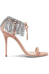 Giuseppe Zanotti Carrie Crystal Embellished Suede Sandals Antique Rose
