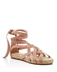 Diane Von Furstenberg Bastia Lace Up Flat Espadrille Sandals Powder