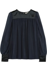 Nina Ricci Silk Satin And Georgette Blouse Blue