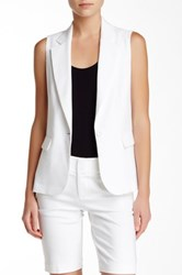 Alice Olivia Lorelei Single Button Linen Blend Vest White