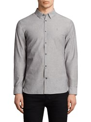 Allsaints Tulare Textured Slim Fit Shirt Grey