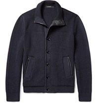 Ermenegildo Zegna Leather Trimmed High Performance Wool Zip Up Cardigan Navy