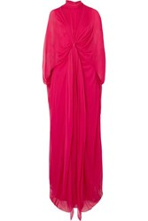 Reem Acra Draped Knotted Silk Chiffon Gown Red