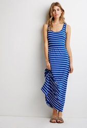 Forever 21 Striped Racerback Maxi Dress Royal White