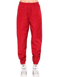 Prada Nylon Gabardine Track Pants Red